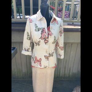 Allred Dunner blazer/jacket butterfly design
